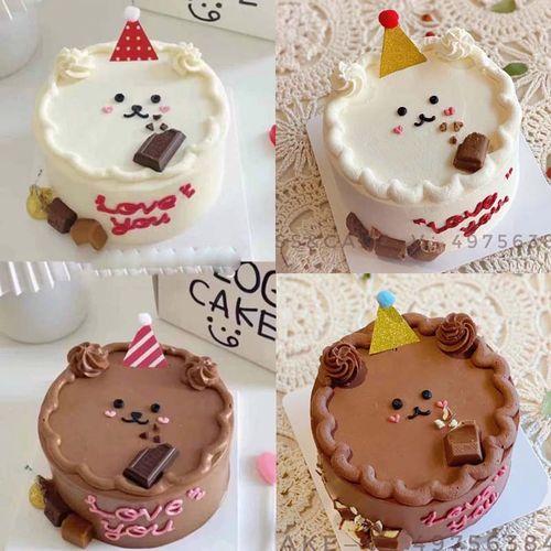 小熊蛋糕手绘迷你小帽子蛋糕装饰ins简约网红儿童女神