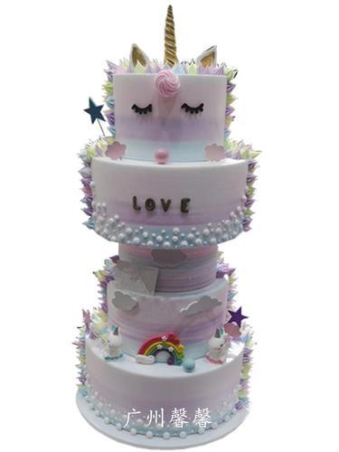 广州馨馨2019新款5层创意新款独角兽生日高端多层婚庆蛋糕模型