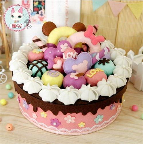 diy成品制作幼儿园不尐玩具生日朩织布蛋糕包儿童手工