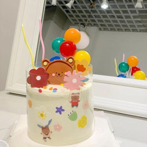 网红生日蛋糕装饰插件摆件ins韩系可爱软陶卡通小熊气球蛋糕插牌