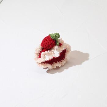 发绳少女心皮筋手工编织毛线头绳女简约扎头发森系百搭发饰 1#草莓