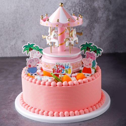 旋转木马样品假红网模型仿真粉色新款2020塑胶蛋糕