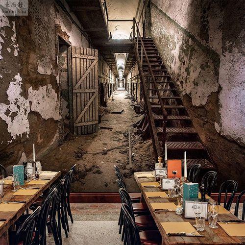 个性恐怖鬼屋废墟壁纸工业风延伸空间隧道壁纸密室逃脱剧本墙纸