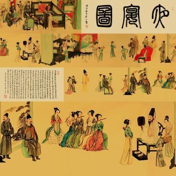 龙新平,莽山大师《韩熙载夜宴图》大长卷手绘真迹