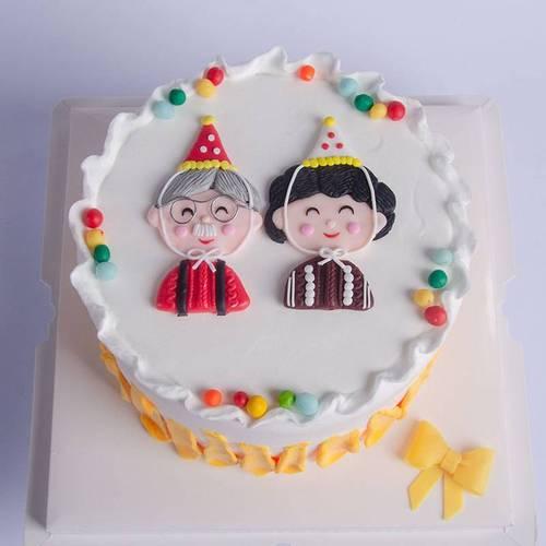 蛋糕装饰爷爷奶奶蛋糕插件烘焙老人蛋糕摆件过寿老人