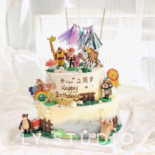 生日蛋糕装饰摆件儿童卡通小熊熊猴子光头大二甜品台