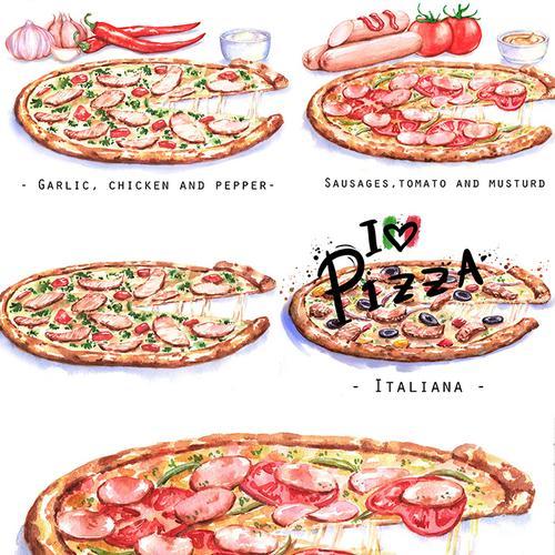 [编号94]手绘卡通水彩笔意大利美味披萨高清图片ps素材