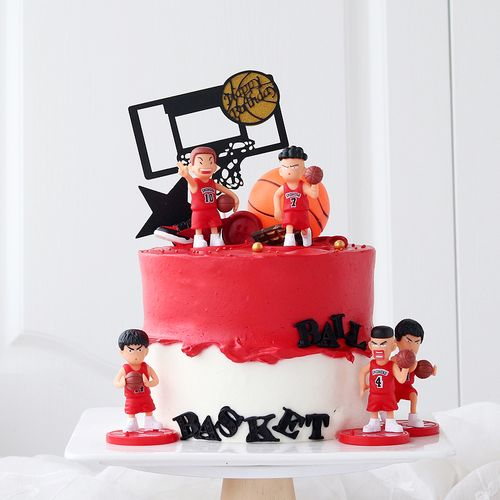 父亲节蛋糕装饰灌篮高手生日蛋糕装饰篮球小子男孩儿童节甜点摆件