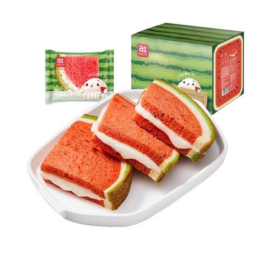 a1西瓜吐司2箱480g*2 早餐面包 网红零食鸡蛋原味休闲
