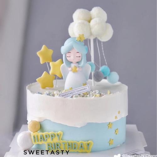 网红白衣天使生日蛋糕摆件抱爱心星星女孩甜品台烘培