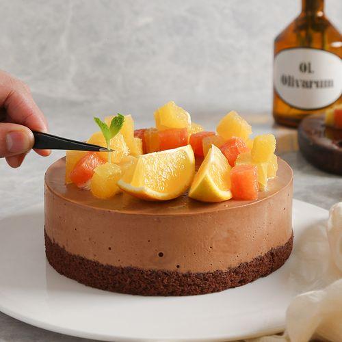 一口就能吃下橙子 巧克力 慕斯,内涵满满,巧克力控必吃,黑巧橙橙蛋糕