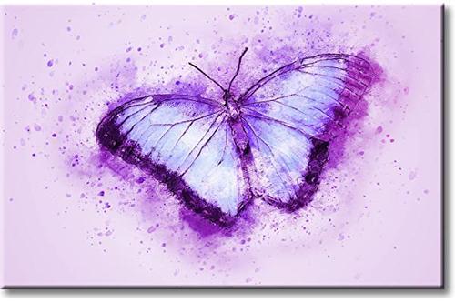 在拉伸帆布上美丽的紫色蝴蝶图片,墙壁艺术装饰,可直接悬挂 11