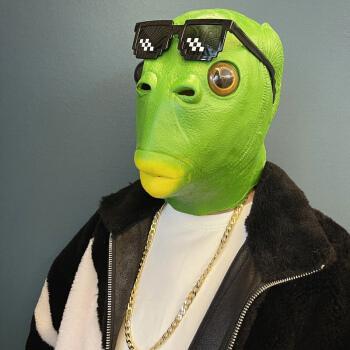 绿鱼人头套怪怪鱼面具抖音搞怪搞笑动物鱼头套可爱表演道具 绿鱼人
