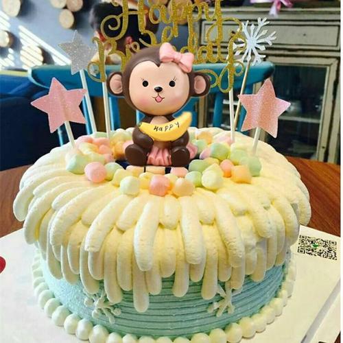 蛋糕装饰摆件 生肖猴子香蕉猴子生日蛋糕装饰 烘焙