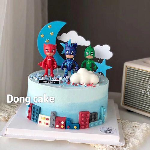 蒙面侠蛋糕摆件 睡衣小英雄卡通公仔手办玩偶插件儿童