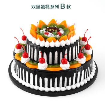 新款仿真 生日蛋糕模型双层鲜奶欧式水果摄影塑胶样品