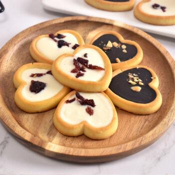 巧克力坚果蔓越莓曲奇饼干高颜值网红小零食夹心饼干爱心喜饼干 黑巧