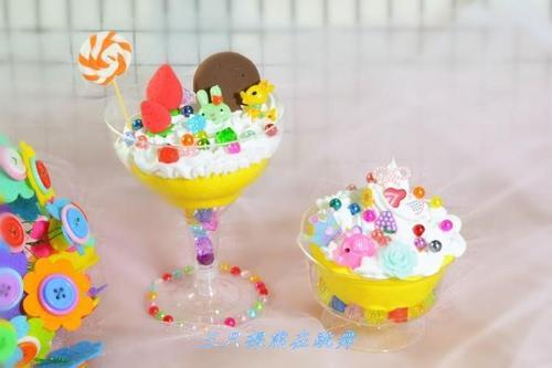 儿童手工diy冰激凌超轻粘土彩泥玩具蛋糕甜品奶油杯材料包套装