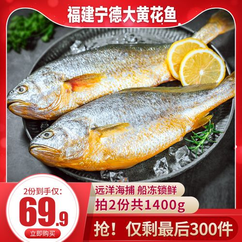 谷源道大黄花鱼福建宁德特产非小黄花鱼700g2条新鲜
