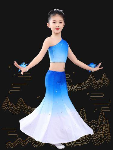 六一儿童节女孩舞蹈演出女童傣族民族表演服孔雀舞服装2021新款