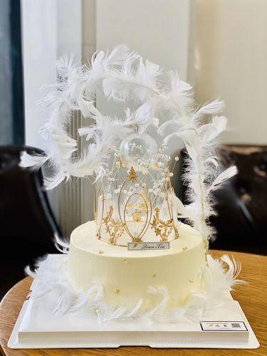 花仙子网红蛋糕装饰满天星皇冠白色珍珠鸵鸟羽毛生日