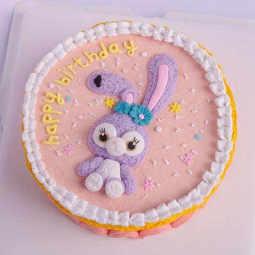 网红史黛拉兔子蛋糕摆件 儿童卡通紫色兔子摆件公主
