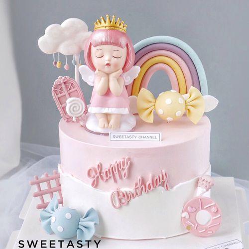 网红蛋糕装饰粉色少女心皇冠公主摆件搪胶款爱莎与