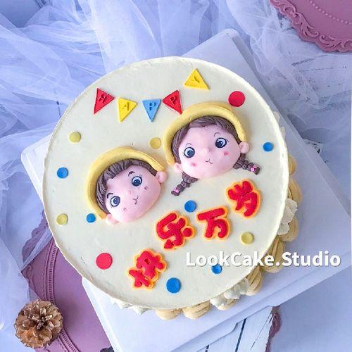 烘焙蛋糕装饰摆件大头娃娃双胞胎龙凤胎儿童生日蛋糕