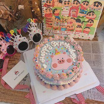 臻鸣网红创意手绘定制生日蛋糕全国同哈尔滨大庆城配送当日送达 小