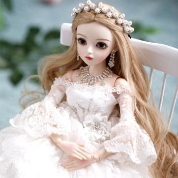 卡通芭比娃娃洋娃娃芭比公主婚纱大号礼盒套装玩具婚庆摆件送 大