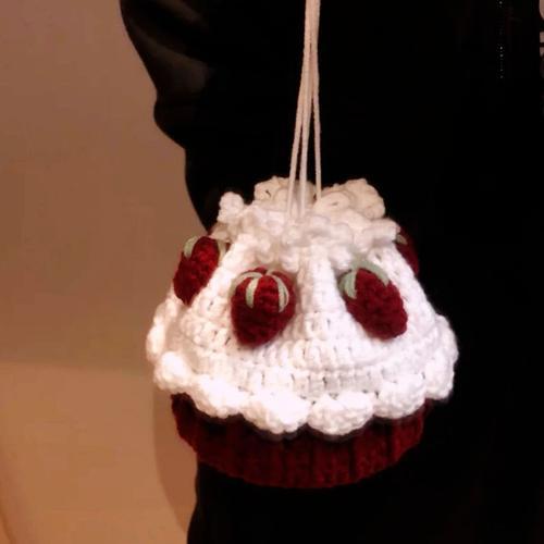 纸杯蛋糕编织包包diy材料包手工草莓水蜜桃蛋糕束口包