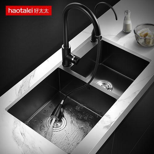 德国洗菜盆纳米水槽双槽 厨房304不锈钢洗碗槽家用黑色洗碗池菜盆
