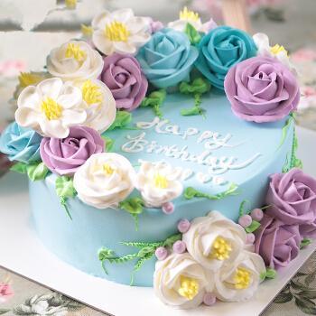 生日蛋糕同城配送 高端定制 韩式裱花个性创意奶油蛋糕 广州 上海预定