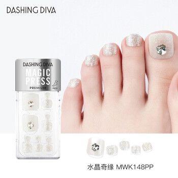 diva)脚指甲贴片穿戴美甲成品甲油胶假指甲24片 水晶奇缘mwk148pp