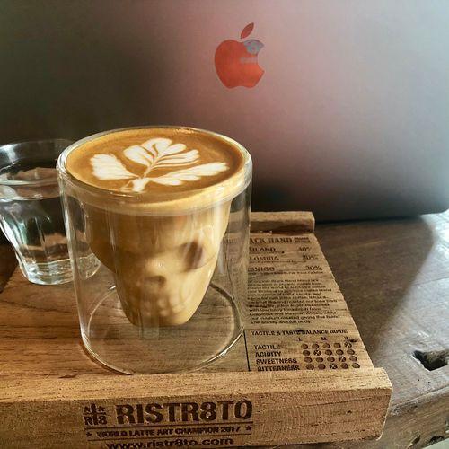ins网红咖啡厅骷髅头咖啡杯创意拉花双层咖啡杯拿铁杯