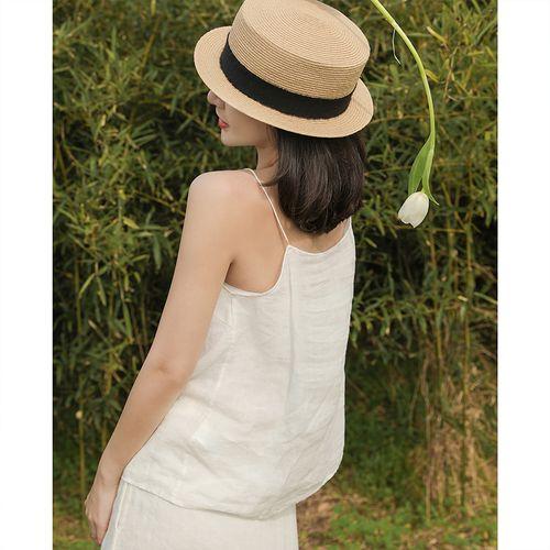麻霖原创设计女装春夏成衣洗水轻薄宽松手工绕线防透吊带小背心