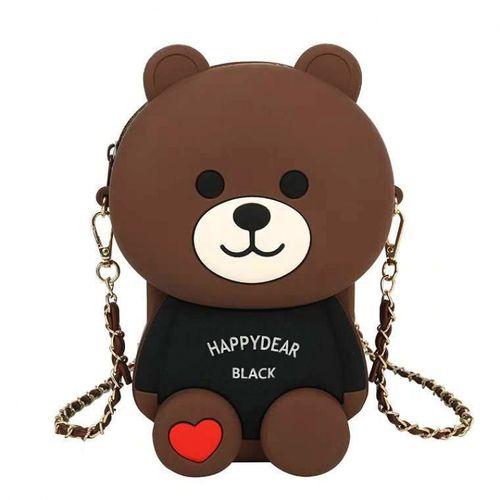 diy小女包包新款2021款百搭硅胶小熊包休闲手机包单肩斜挎包 棕色欢乐
