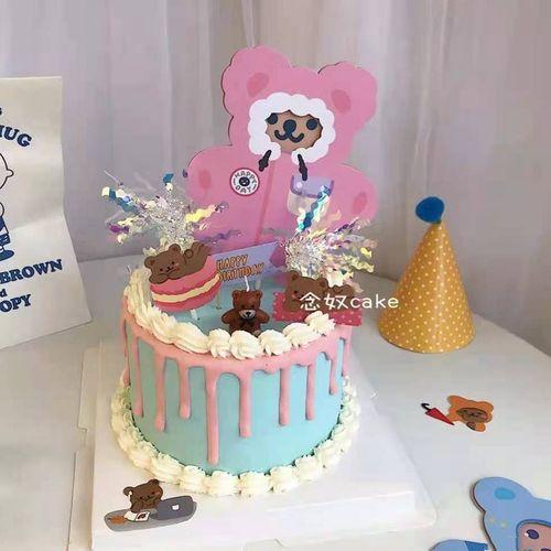 烘焙蛋糕装饰 韩国ins风小熊卡片贺卡 网红小熊生日甜品插牌插件
