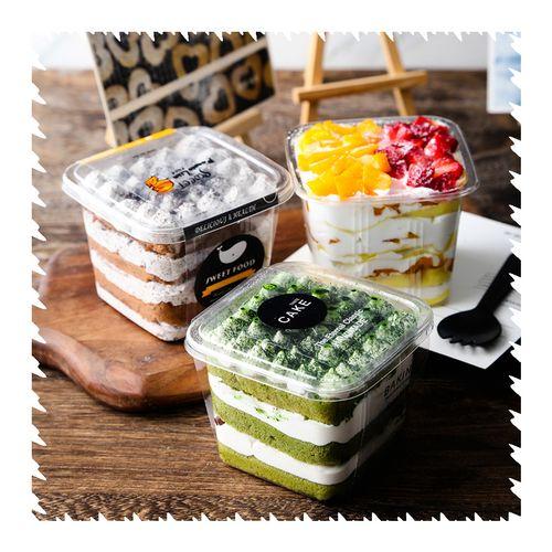 网红千层豆乳蛋糕盒子水果捞打包盒木糠杯慕斯包装盒
