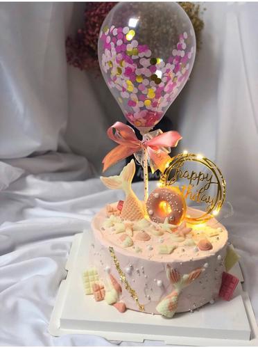 气球法国进口动物淡奶油新鲜水果夹心巧克力美人鱼生日蛋糕适合送女士