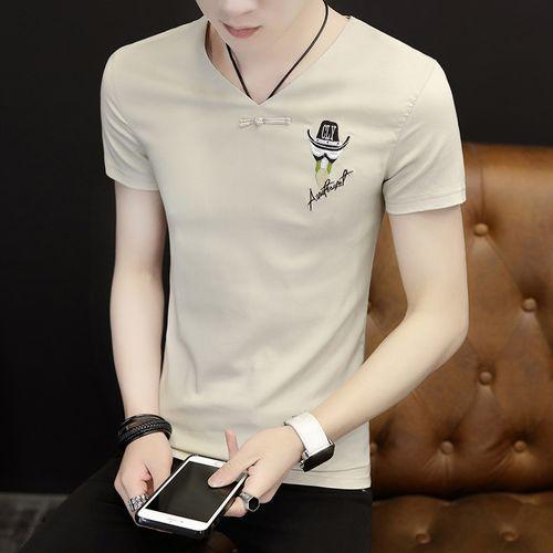 夏季男士短袖2021新款韩版潮流半袖男夏装潮牌修身上衣服v领t恤男