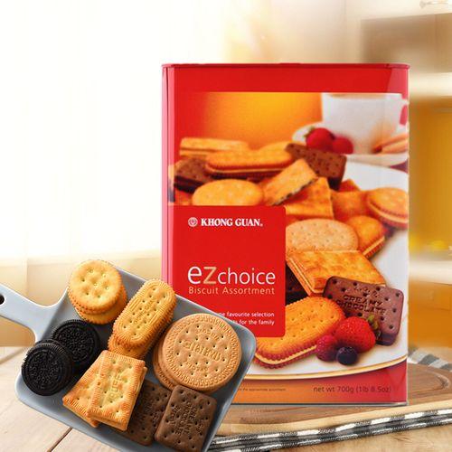 进口康元饼干铁罐铁桶什锦夹心饼干700g饼干零食糕点
