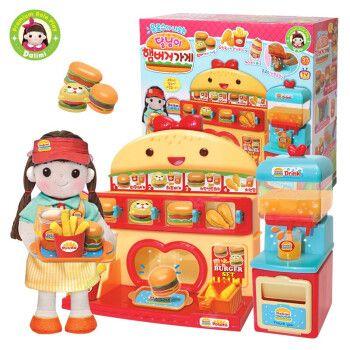 正版太伶美韩国玩具美味汉堡店小朋友过家家太空彩泥女孩礼盒套装 太