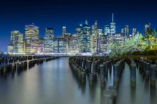 melis 纽约城市天际线优质帆布.布鲁克林的曼哈顿市中心的独特风景.