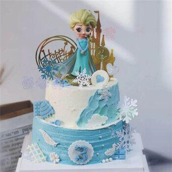 网红冰雪奇缘生日蛋糕同城儿童安娜艾莎公主蛋糕女孩闺蜜上海广州