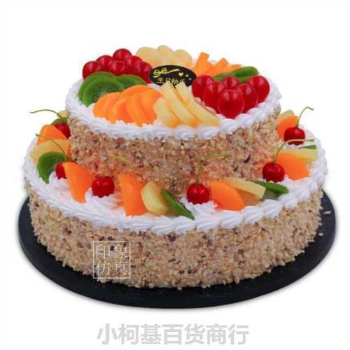 双层祝寿蛋糕模型仿真2019新款 流行寿公寿婆寿比南山水果样品