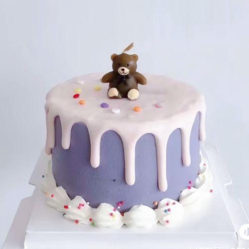 小熊蜡烛生日蛋糕装饰插牌插件韩国ins卡通泰迪熊蜡烛