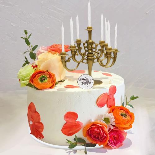 仿真生日蛋糕模型2021网红新款鲜花复古烛台假蛋糕