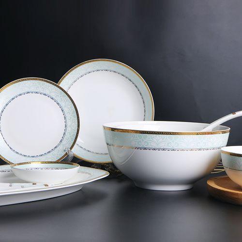 敏杨陶瓷 碗碟套装骨瓷餐具饭碗家用送礼菜盘西餐盘骨瓷欧风28头