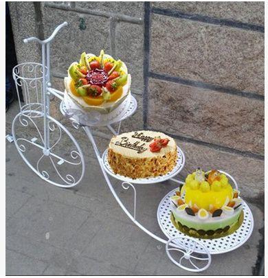 新款创意铁艺蛋糕架自行车婚庆三层糕点架 花架梯形甜品 促销包邮